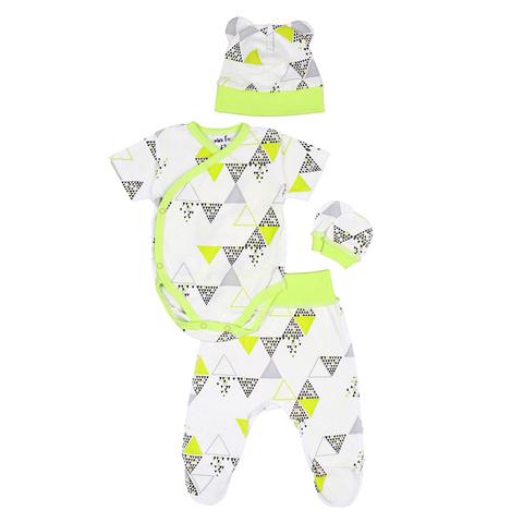 Mini Fox. Комплект швами наружу 3 предмета боди с короткими рукавами, зеленые треугольники вид 1