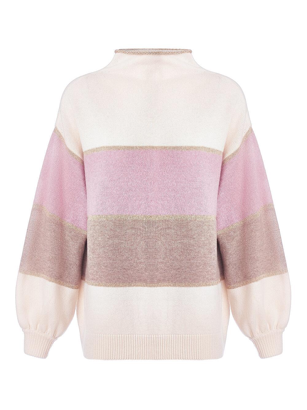 Женский свитер молочного цвета из шерсти и кашемира в полоску - фото 1