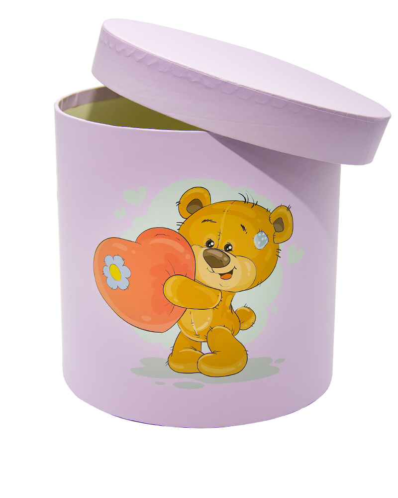 Коробка Цилиндр Сиреневый (Средняя Мишки)