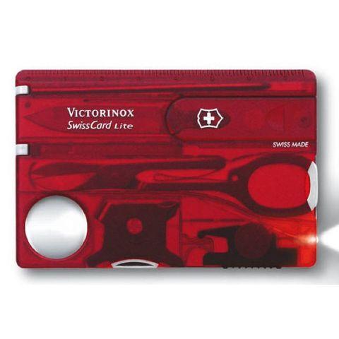 Швейцарская карта Victorinox SwissCard (0.7300.T) Lite 13 функций прозрачный красный