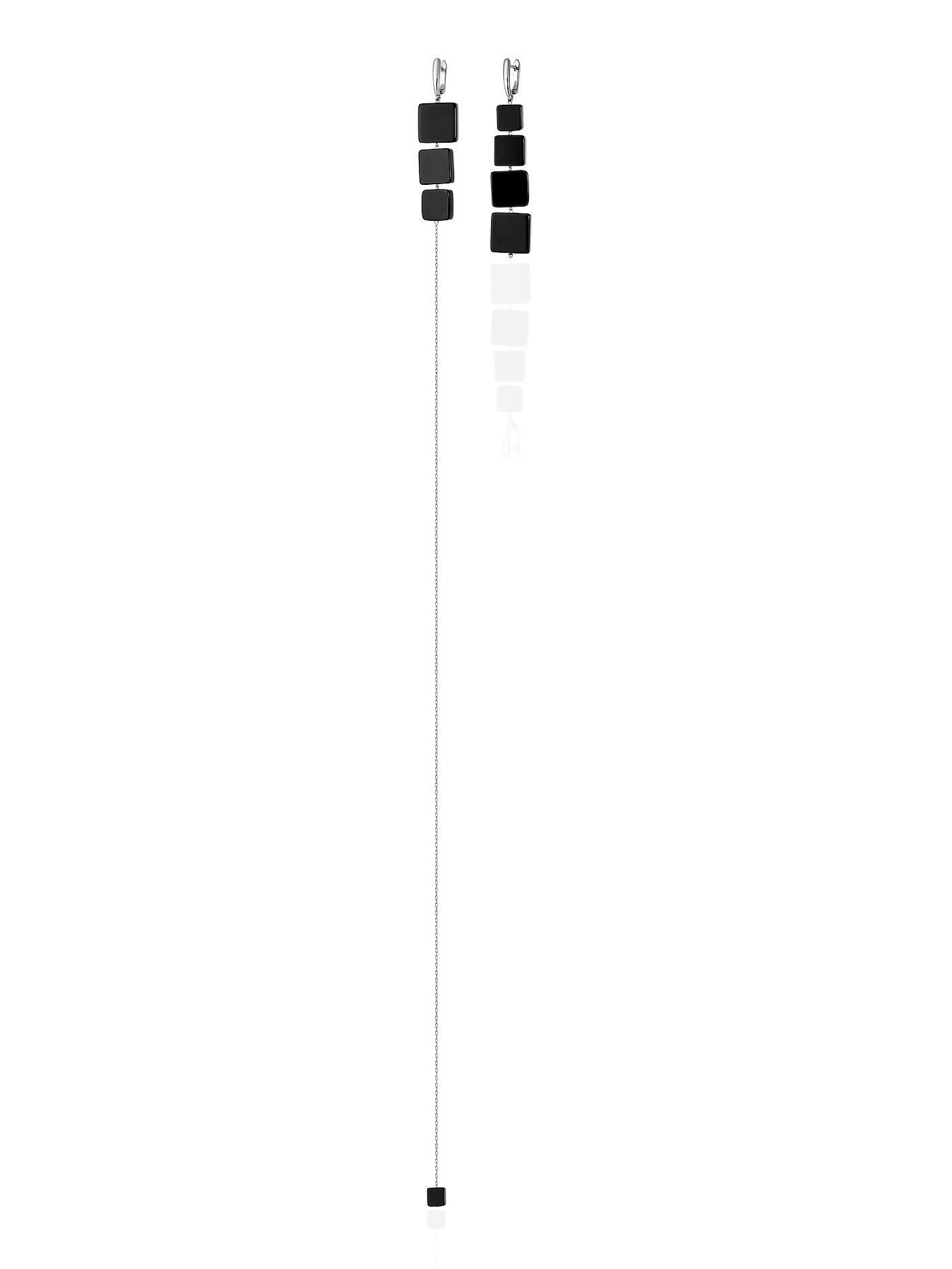Длинные асимметричные вечерние серьги с черным агатом в подарочной коробке