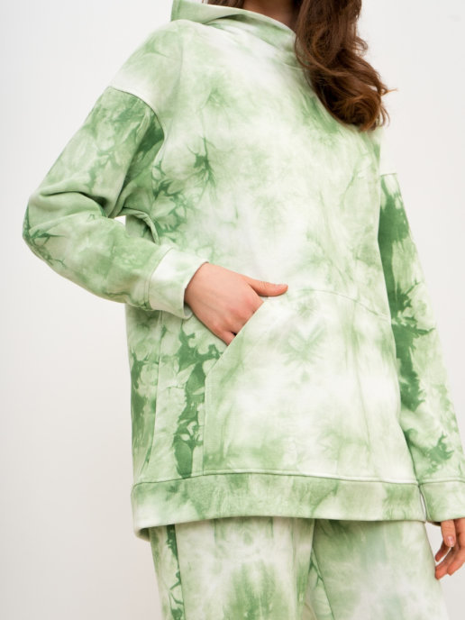 Brandmania Женский костюм (худи и брюки) Тай-дай зеленый
