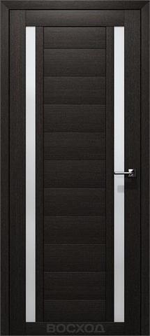 Дверь Восход Гамма, стекло сатин, цвет орех Бисмарк, остекленная