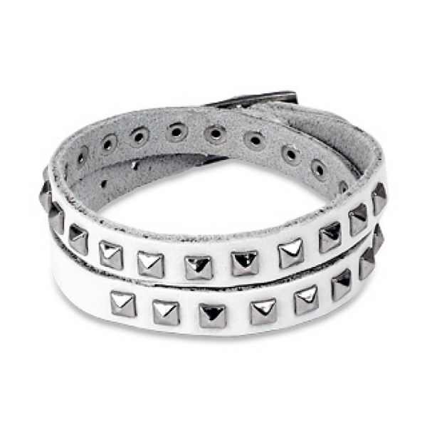 Кожаный браслет SPIKES SL0071-WH