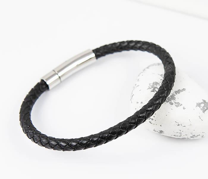 BM517-1 Браслет шнур черного цвета на застежке (20 см) фото 03