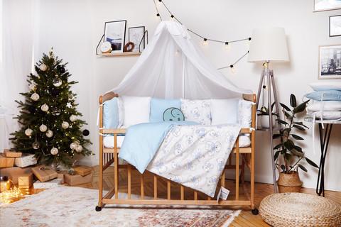 Комплект постельного белья для новорожденных с защитой-бортиками Верона - 2 Голубой мишка