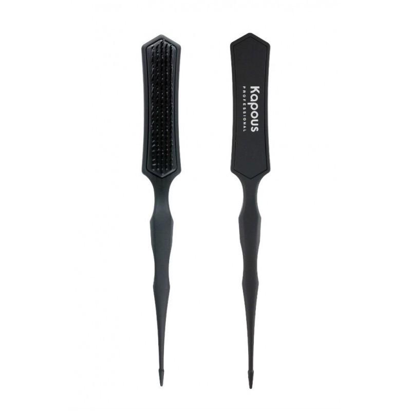 Kapous Professional Расческа узкая - трехуровневая щетина, черного цвета