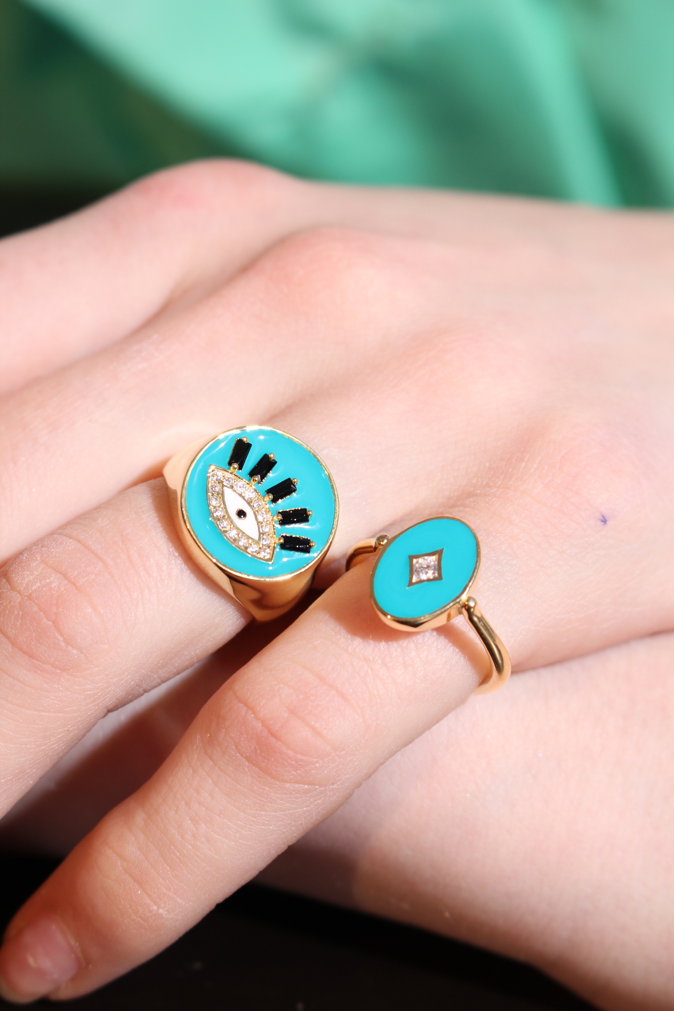 The Eye signet ring in gold plated silver with light blue enamel