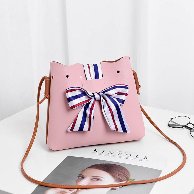 Стильная женская повседневная маленькая розово-коричневая сумочка-мешок 23х20х4,5 см с плечевым ремнём и шёлковой лентой 8366-3