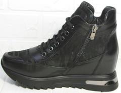 Черные кожаные сникерсы женские Evromoda 965 Black