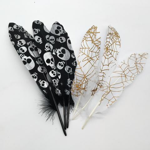 Перья гуся с принтом 15-22 см.(1 шт.) (выбрать цвет)