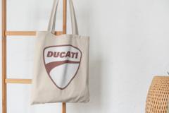 Сумка-шоппер с принтом Ducati (Дукати) бежевая 0013