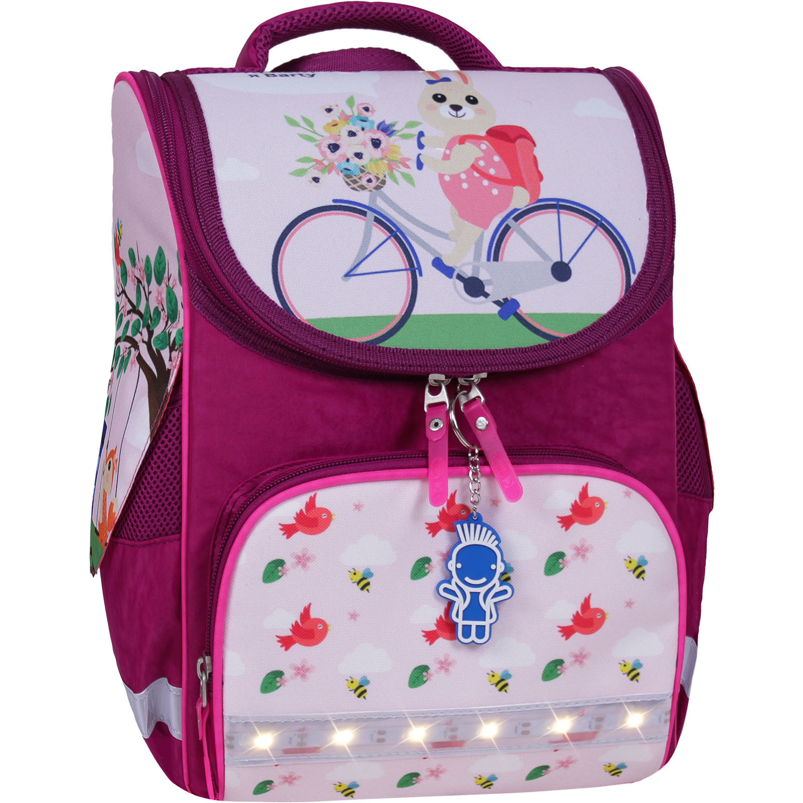 Школьные рюкзаки Рюкзак школьный каркасный с фонариками Bagland Успех 12 л. малиновый 430 (00551703) IMG_7405-1600.jpg