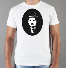 Футболка с принтом Чарли Чаплин (Charlie Chaplin) белая 009