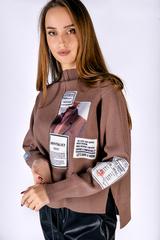 Коричневый свитер с горлом Nadya