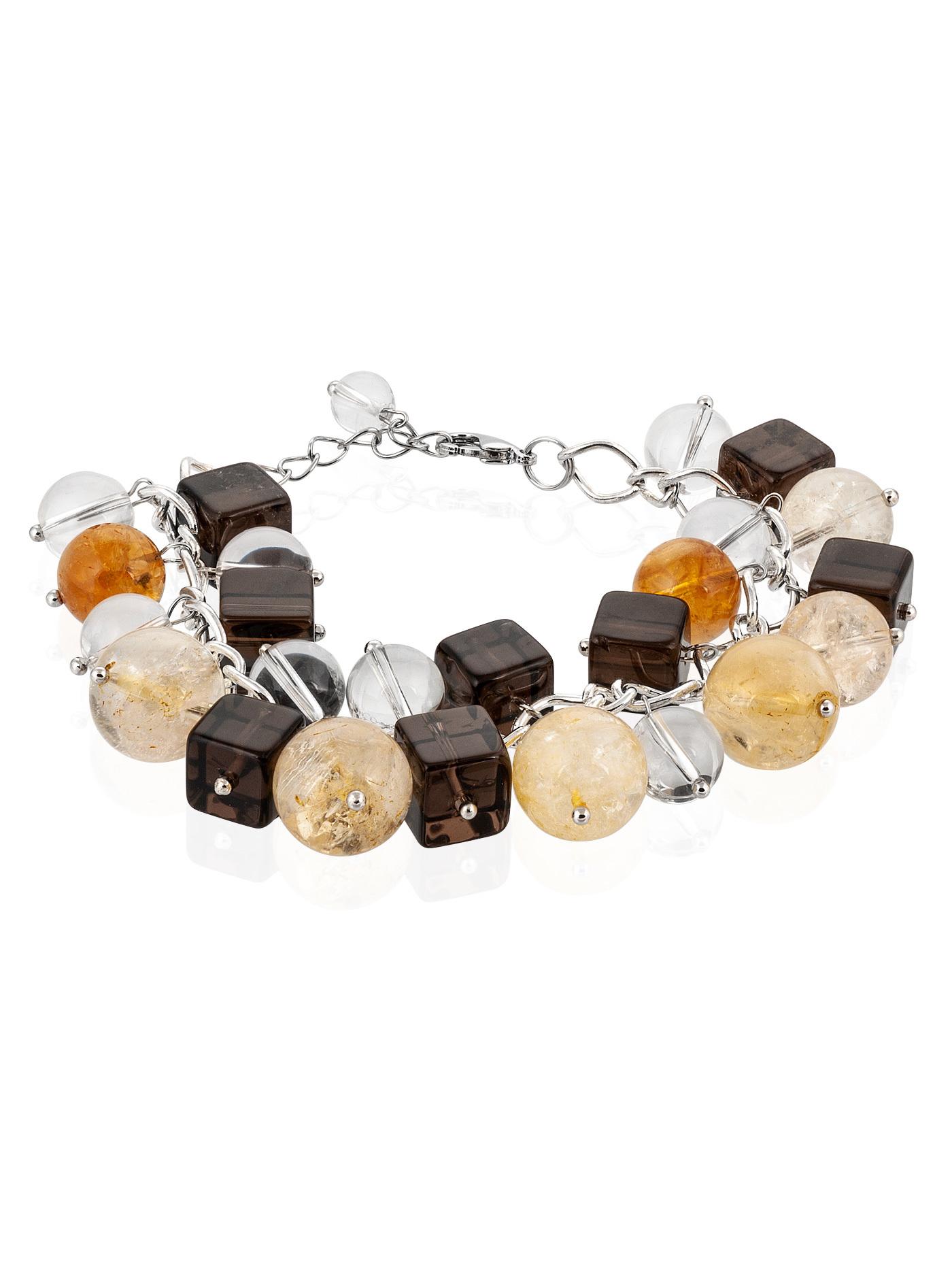 Браслет-гроздь с натуральными камнями, раухтопаз, горный хрусталь, цитрин в подарочной коробке