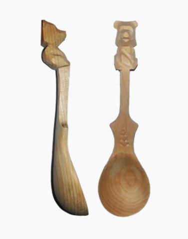 Ложечка из сибирского кедра с медвежонком, 11 и 14 см