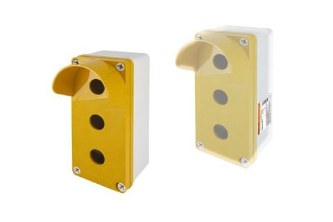 Корпус КП103 c козырьком для кнопок 3 места IP66 ABS желтый TDM