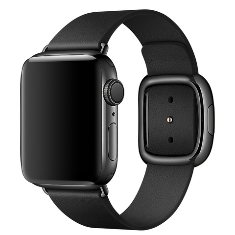 Ремешок Apple watch 38mm Modern Buckle Leather black /black/