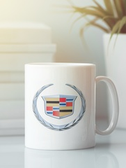 Кружка с рисунком Кадиллак (Cadillac) белая 0012