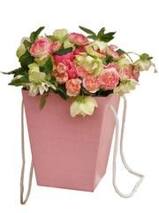 Коробка для цветов Розовая 12,5*18*22,5см / 1 шт/