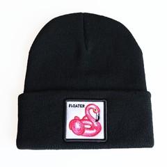 Вязаная шапка с принтом (эмблемой) Фламинго черная