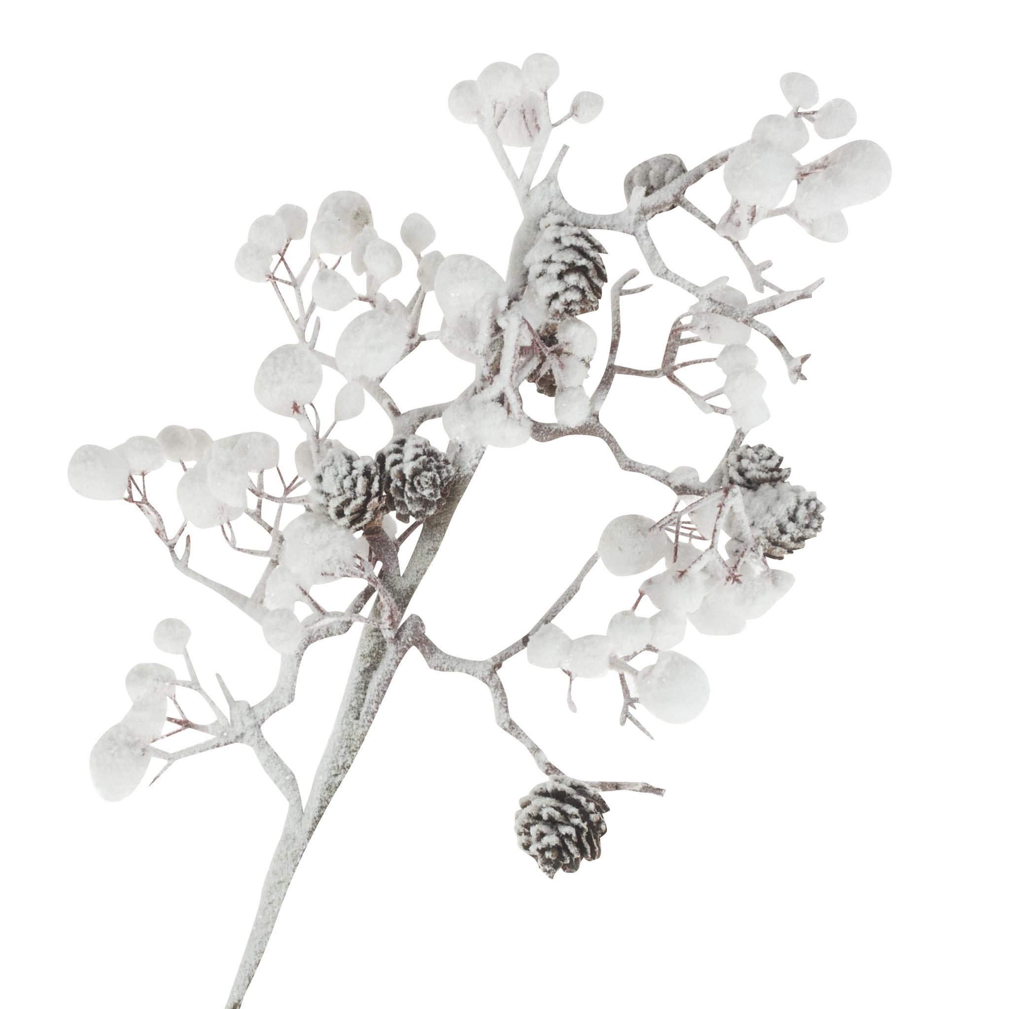 Ветка белая с ягодами и шишками искусств. 75см