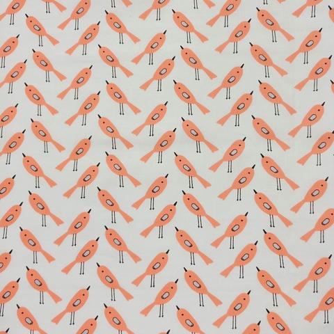 Ткань хлопковая птички оранжевые на белом, отрез 50*80 см