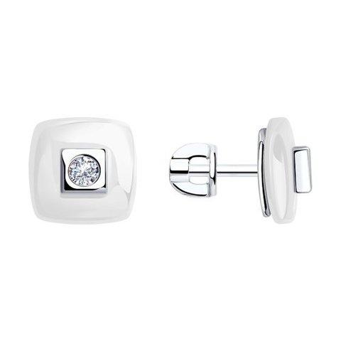 94-122-01278-2 - Серьги-пусеты из серебра с белой керамикой