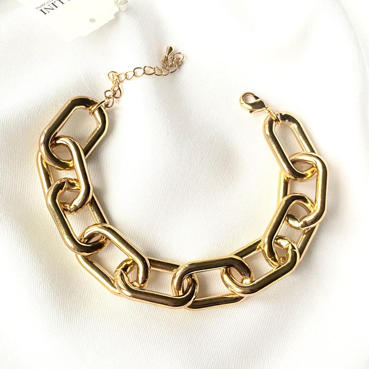 Браслет-цепь с овальными звеньями золотой