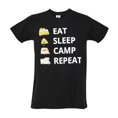 Футболка караванерская EAT SLEEP CAMP REPEAT с изображением автодома и каравана черная