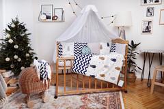 Комплект постельного белья для новорожденных с защитой-бортиками Верона - 2 Мишка + зигзаг