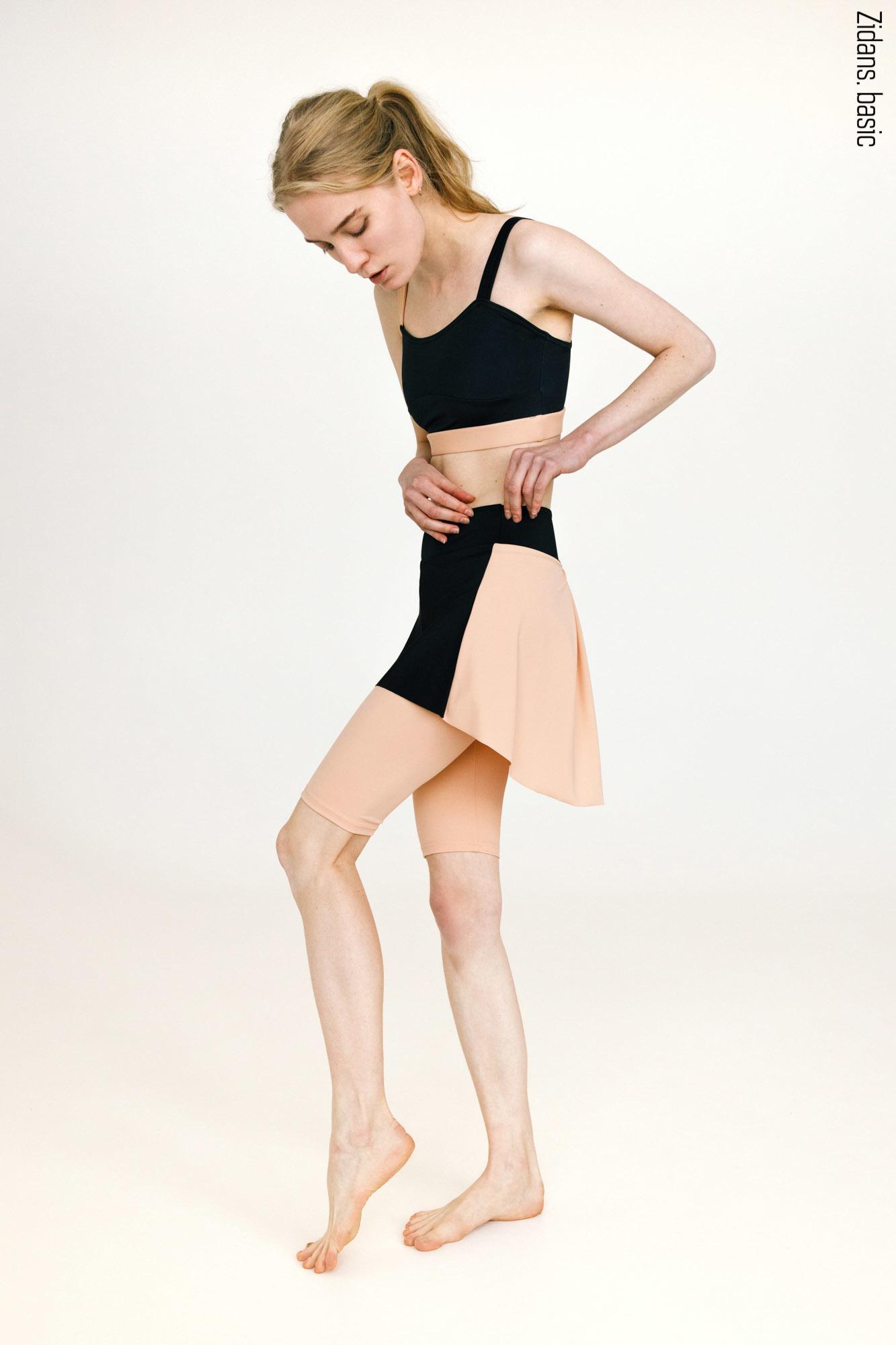 Шорты Тянутся до колен с юбкой basic | бежевый