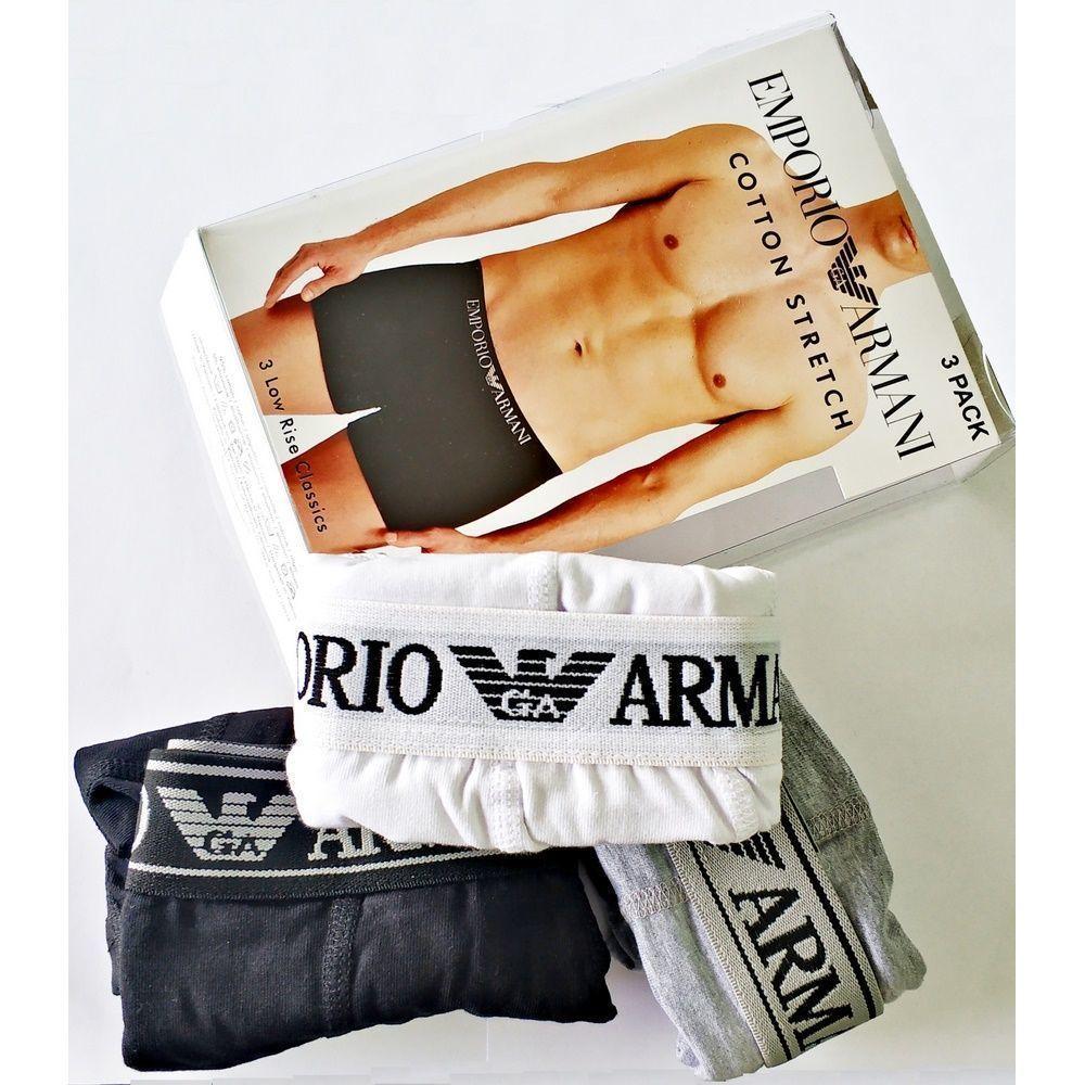 Набор мужских трусов боксеров (черные ,серые, белые) 3шт, Emporio Armani Classic set