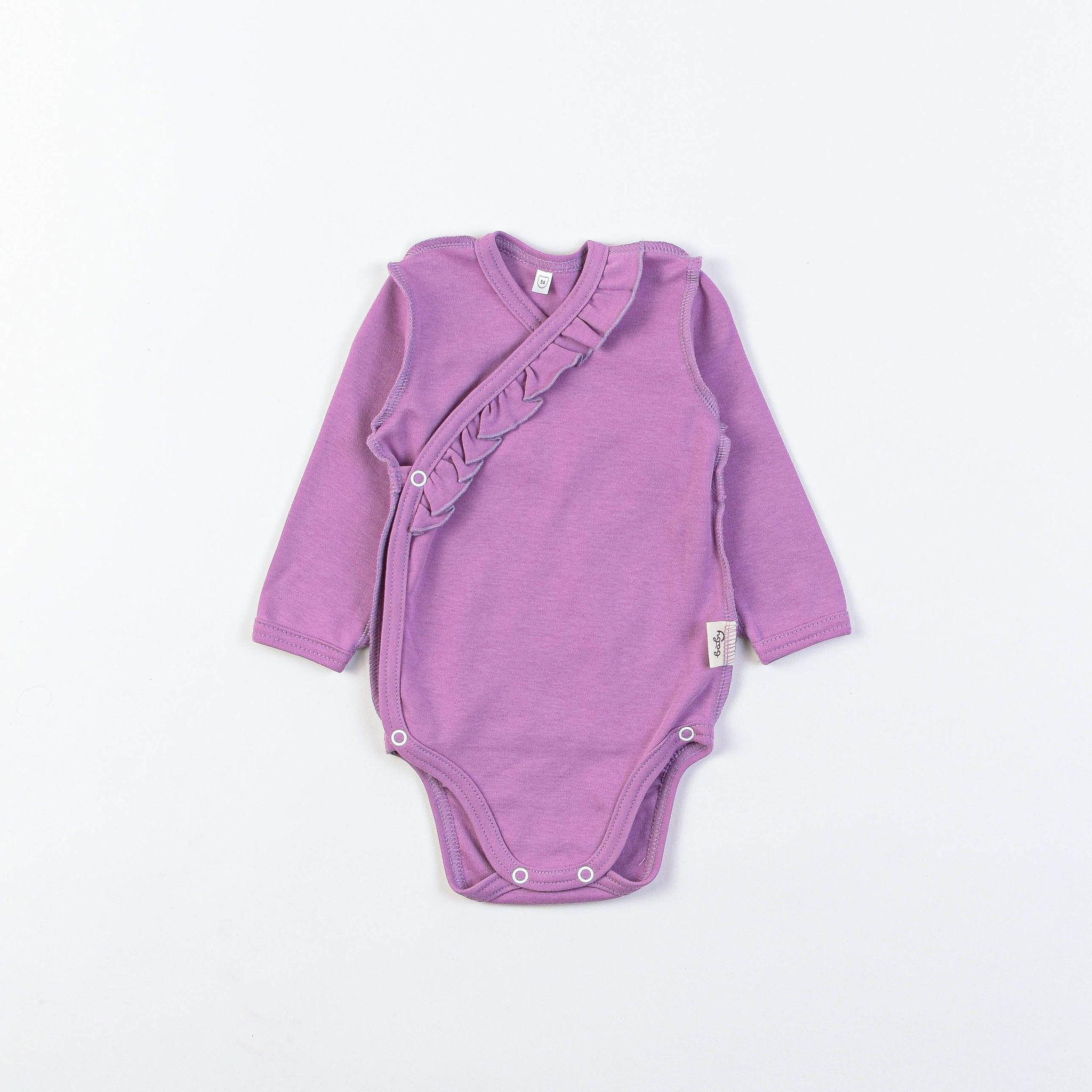 Long-sleeved kimono bodysuit with ruffles 0+, Lilac