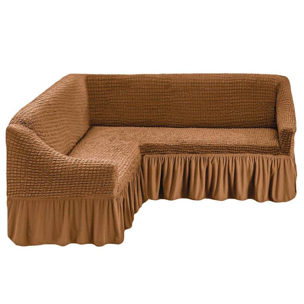 Чехол на угловой диван, песочный