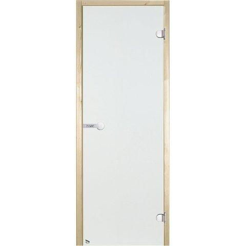 Дверь стеклянная Harvia 7х19, коробка осина, стекло прозрачное, артикул D71904H