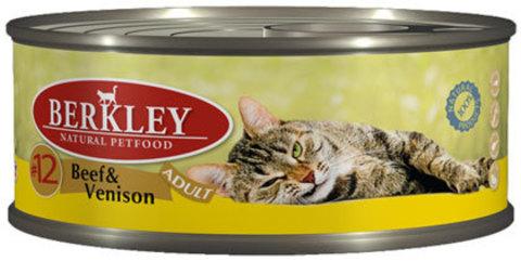 Консервы Berkley №12 Говядина с олениной для взрослых кошек