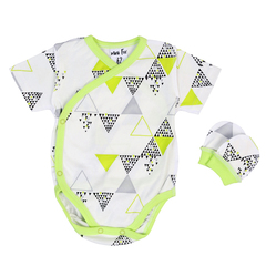 Mini Fox. Комплект швами наружу 3 предмета боди с короткими рукавами, зеленые треугольники вид 2