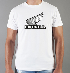 Футболка с принтом Honda (Хонда) белая 0019