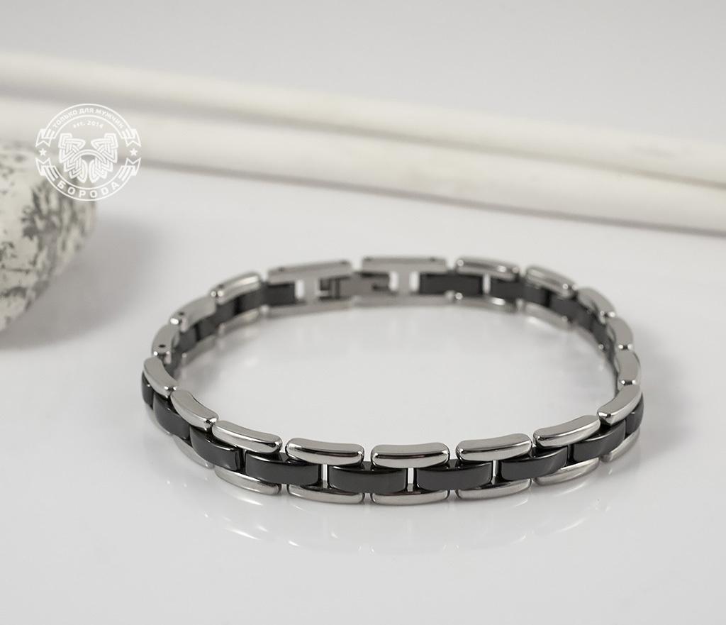 BM347 Стильный браслет из стали со звеньями черного цвета (19,5 см) фото 04