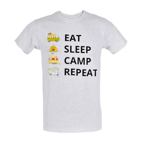 Футболка караванерская EAT SLEEP CAMP REPEAT с изображением автодома и каравана серая
