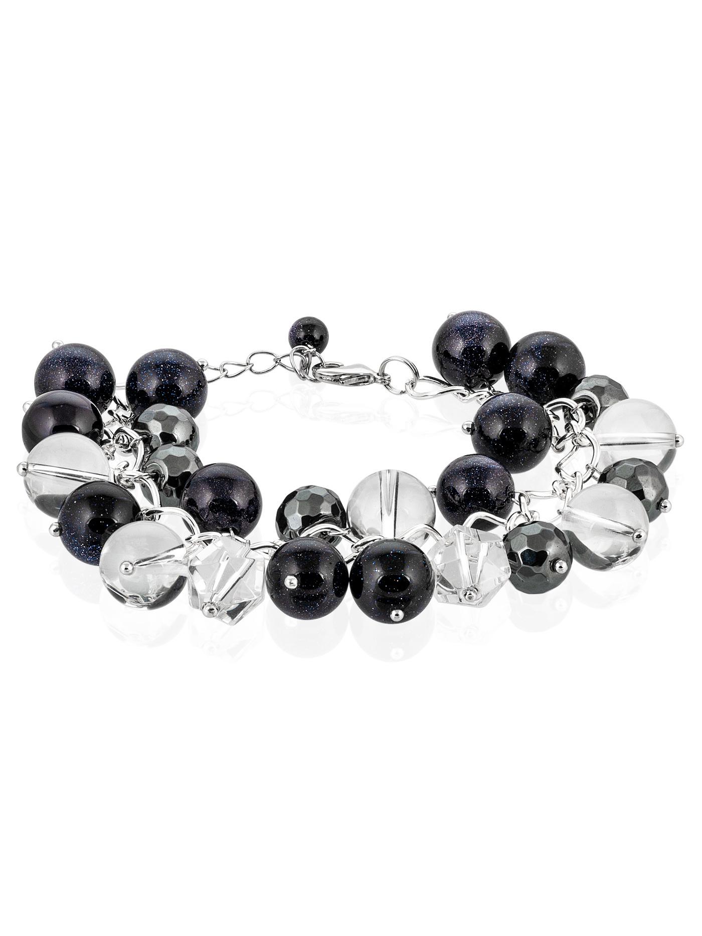 Браслет-гроздь с натуральными камнями, авантюрин, горный хрусталь, гематит в подарочной коробке