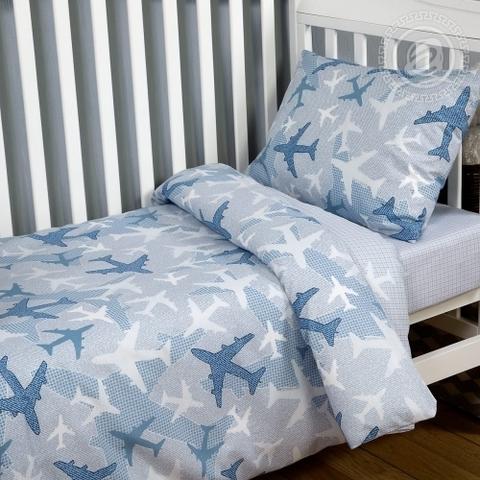 Детское постельное бельё Самолетики голубые ПОПЛИН ЯСЕЛЬНЫЙ