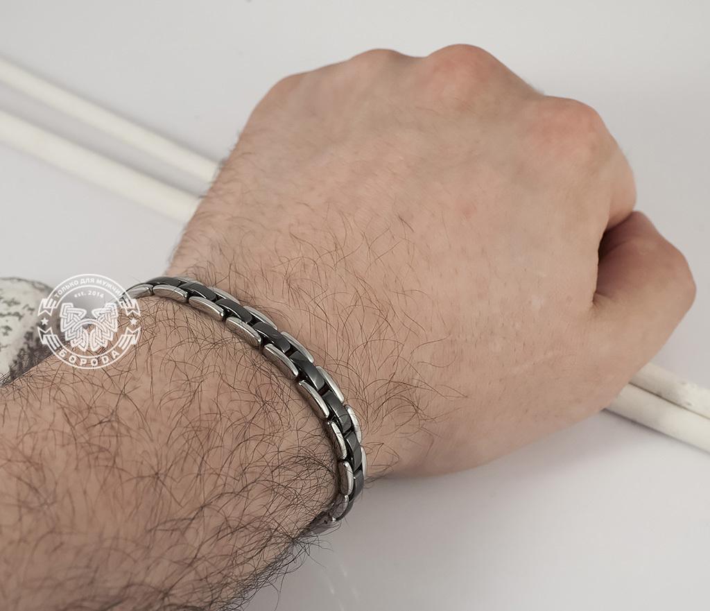 BM347 Стильный браслет из стали со звеньями черного цвета (19,5 см) фото 05