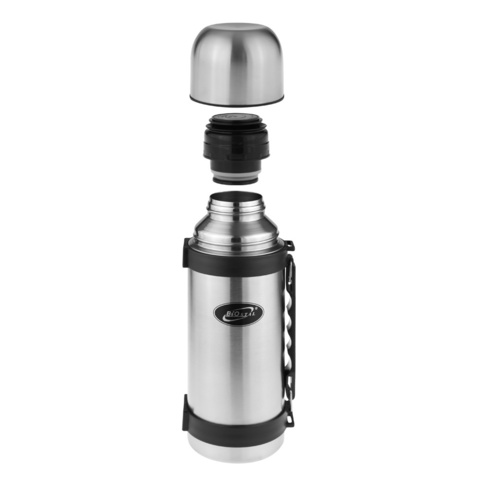 Термос Biostal (1 литр) с ручкой, стальной