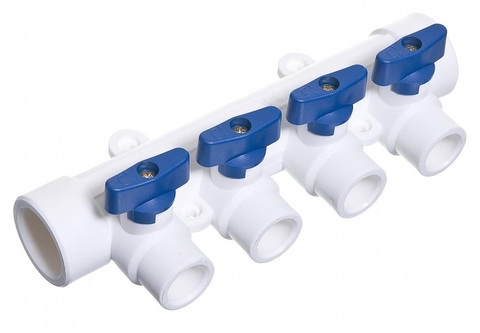 Коллектор полип. с кран. 4 вых.(синяя. ручка) Millennium