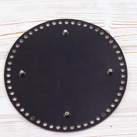 Дно черное круглое 200мм*4мм. Натуральная кожа