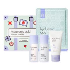 Набор миниатюр с гиалуроновой кислотой, IT'S SKIN, Hyaluronic Moisture Travel Kit (4pcs-toner, emulsion, foam, mask sheet)