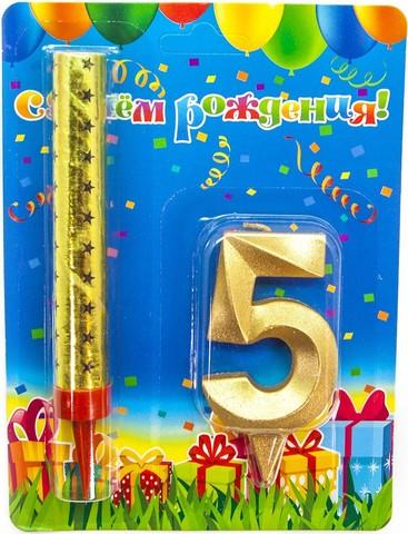 Набор, Фонтан и Свеча Цифра, 5 Грани, Золото, 10 см, 1 шт.